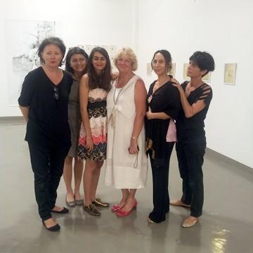 ESMOD Founder Tamara Hostal with Rofaïda Zaïd and the artists